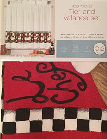 Chef Kitchen Window Tier and Valance Set Red, Black, White