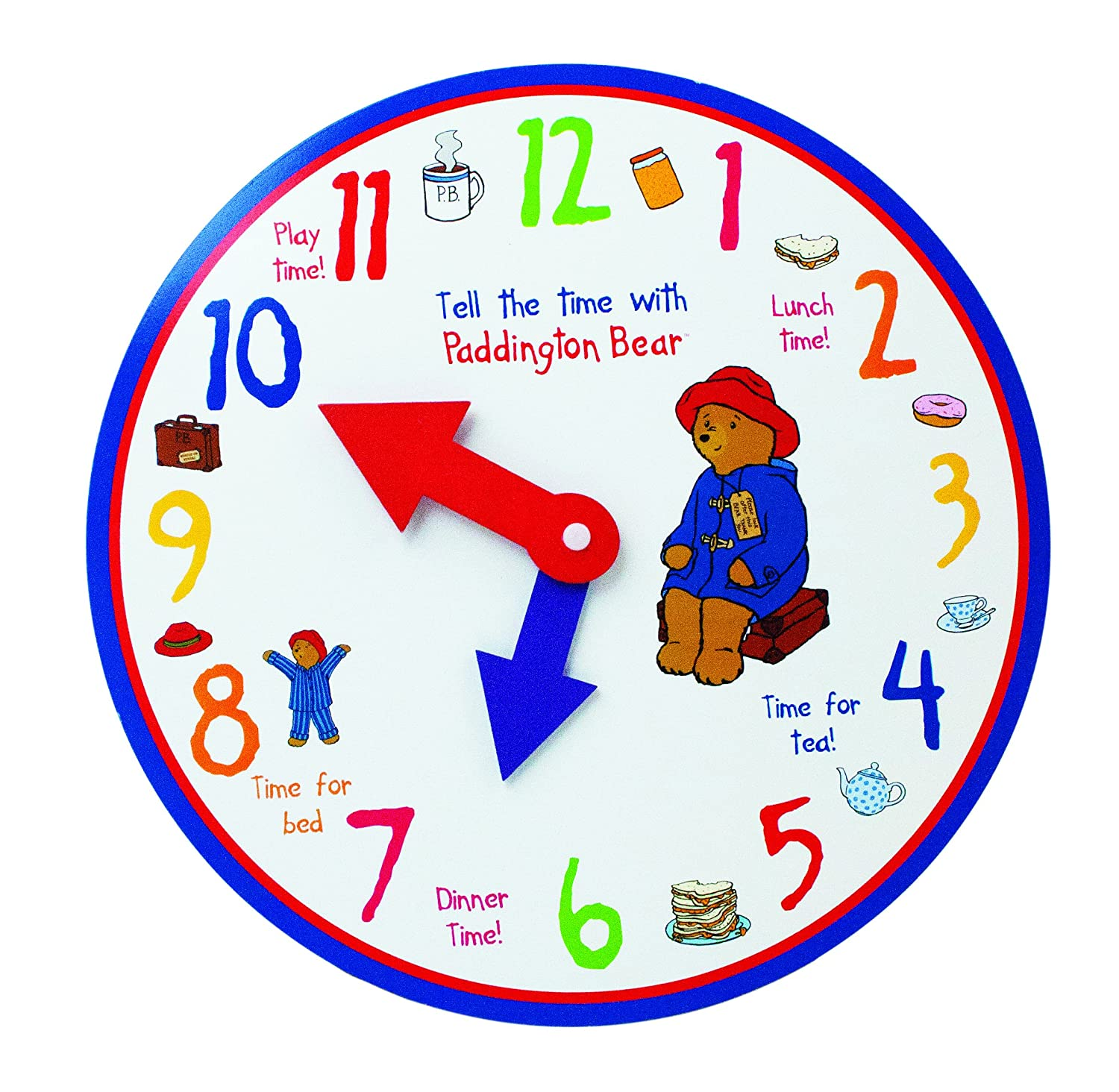 worksheet Learn To Tell Time paddington learn to tell the time wooden clockby rainbow designs amazon co uk toys games