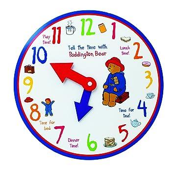 Paddington Aprender a decir la hora del reloj de madera, por los diseños del arco iris: Amazon.es: Juguetes y juegos