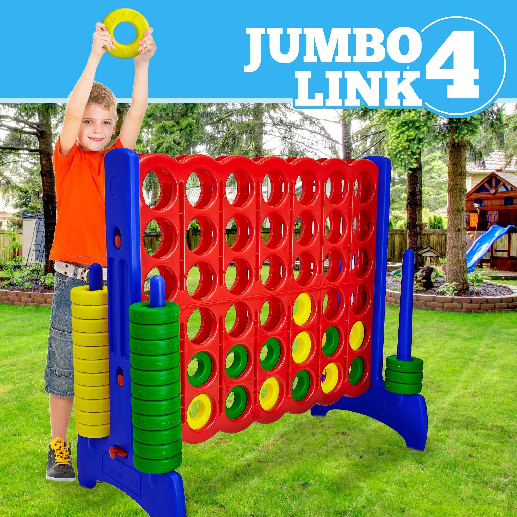 Giant 4 in a Row Connect Game - 4 Feet Wide by 3.5 Feet Tall Oversized Floor Activity for Kids and Adults - Jumbo Sized for Outdoor and Indoor Play - by Giantville, Blue/Red by Giantville (Image #5)