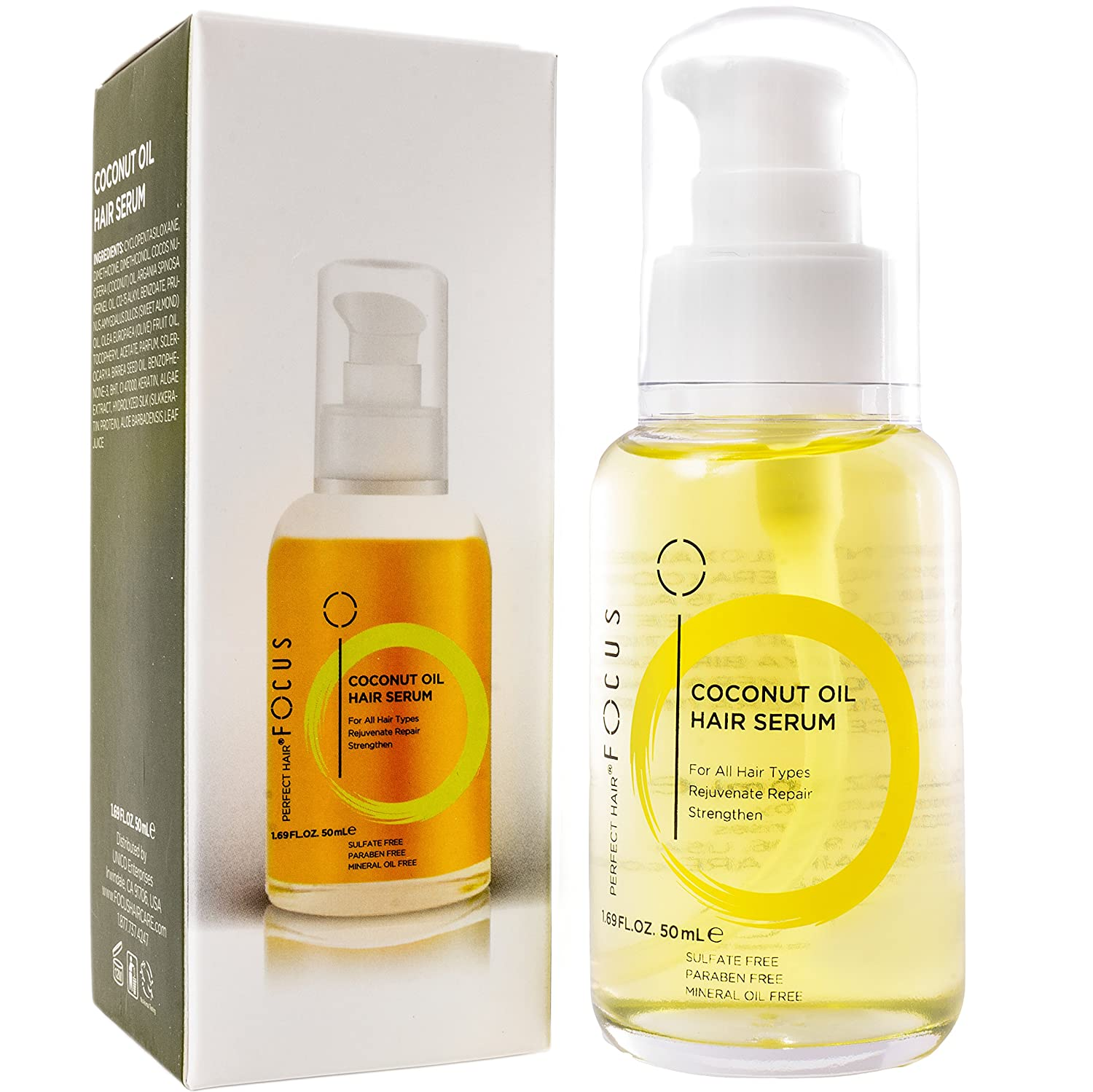 Focus Coconut Oil Hair Serum - Infused with Raw Virgin Olive Oil, Sweet Almond, Keratin, Aloe and Algae Extract - Rejuvenate, Strengthen and Restore Hair to Natural Beauty - 50ml (1 Pack)