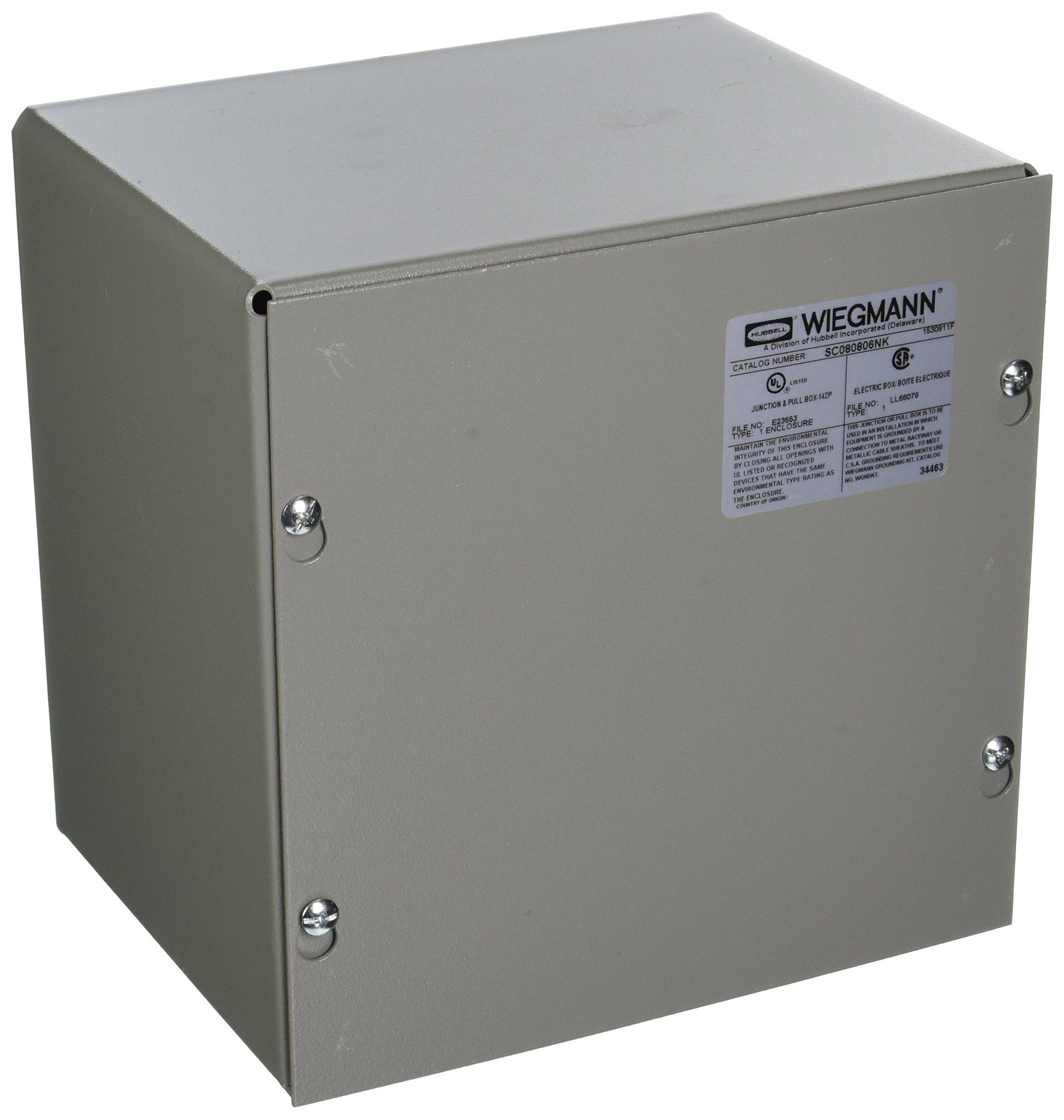 Wiegmann SC080806NK SC-Series NEMA 1 Screw Cover Wallmount Pull Box, No Knockouts, Painted Steel, 8'' x 8'' x 6''