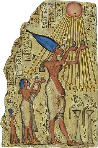 Design Toscano WU68074 Pharaoh Akhenaten Offering to Aten the Sun Wall Sculpture