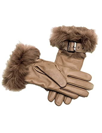 cae472cd5 YISEVEN Women's Touchscreen Lambskin Leather Gloves Rabbit Fur Cuff  Cashmere Lined Hand Warm Fur Heated Lining