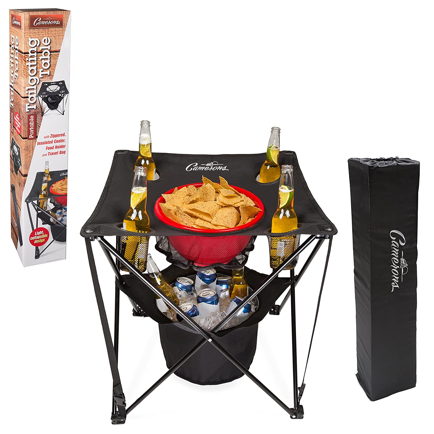 Camerons Products Tailgating Table- Collapsible Folding Camping Table with Insulated Cooler, Food Basket and Travel Bag for Barbecue, Picnic Tailgate