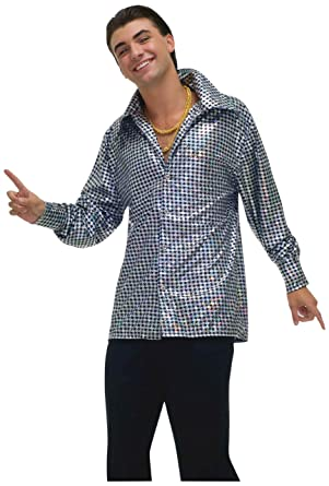 a204d24d9f1310 Forum Novelties Men's Plus-Size 70's Disco Fever Hustling Hunk Costume  Shirt, Black/