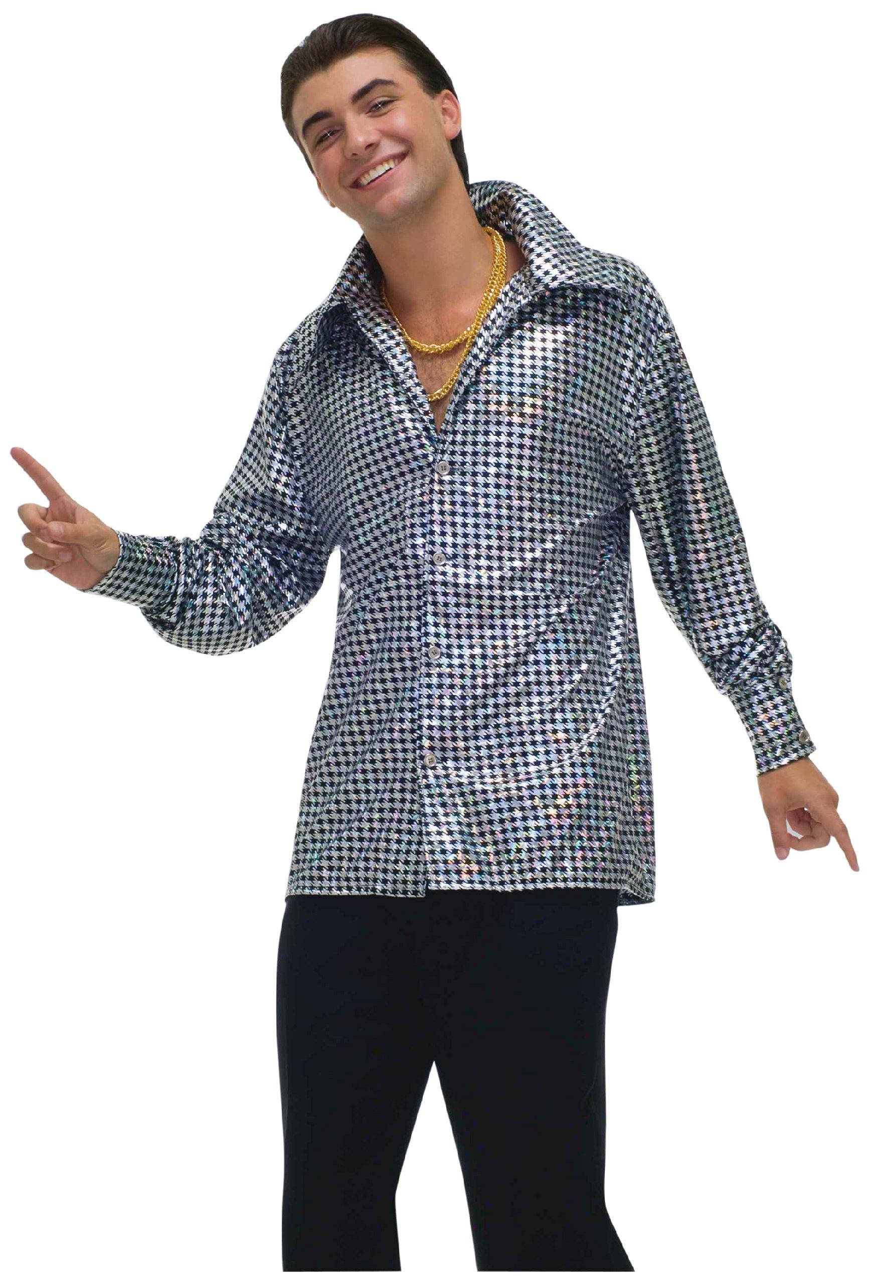 Forum Novelties Men's Plus-Size 70's Disco Fever Hustling Hunk Costume Shirt, Black//White, Plus