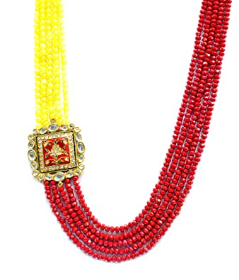 Buy silver point kundan necklace with a side pendant with semi silver point kundan necklace with a side pendant with semi precious beads for women mozeypictures Images