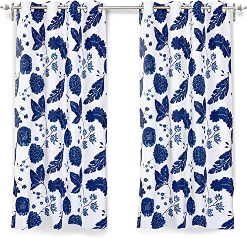 DriftAway Gianna Floral Botanical Print Flower Leaf Lined Thermal Insulated Room Darkening Blackout Grommet Window Curtains 2 Layers 2 Panels Each 52 Inch by 63 Inch Navy