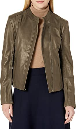 Cole Haan Women's Leather Stand Collar Jacket
