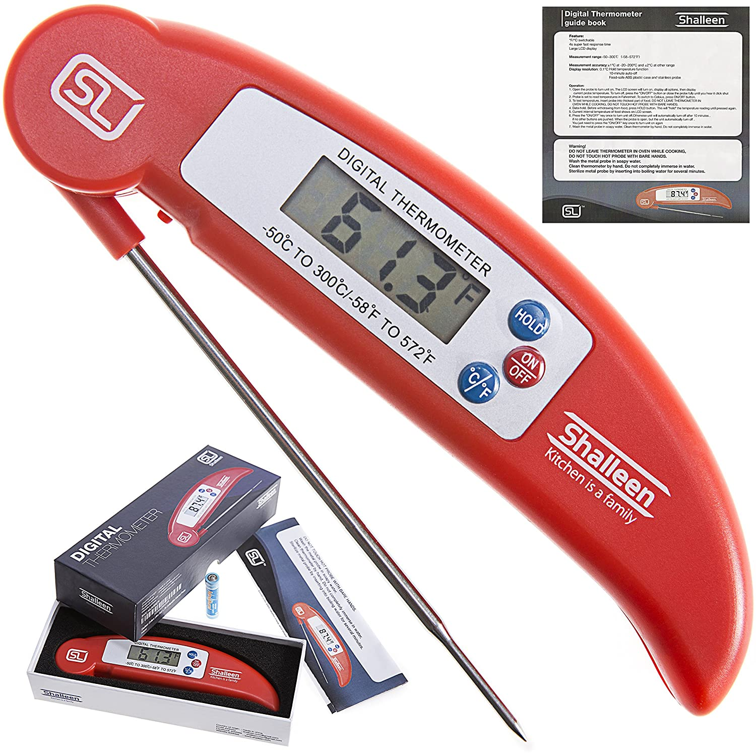 Grillers Ultra Fast Instant Read Digital Barbecue Meat Thermometer with Collapsible Internal Probe