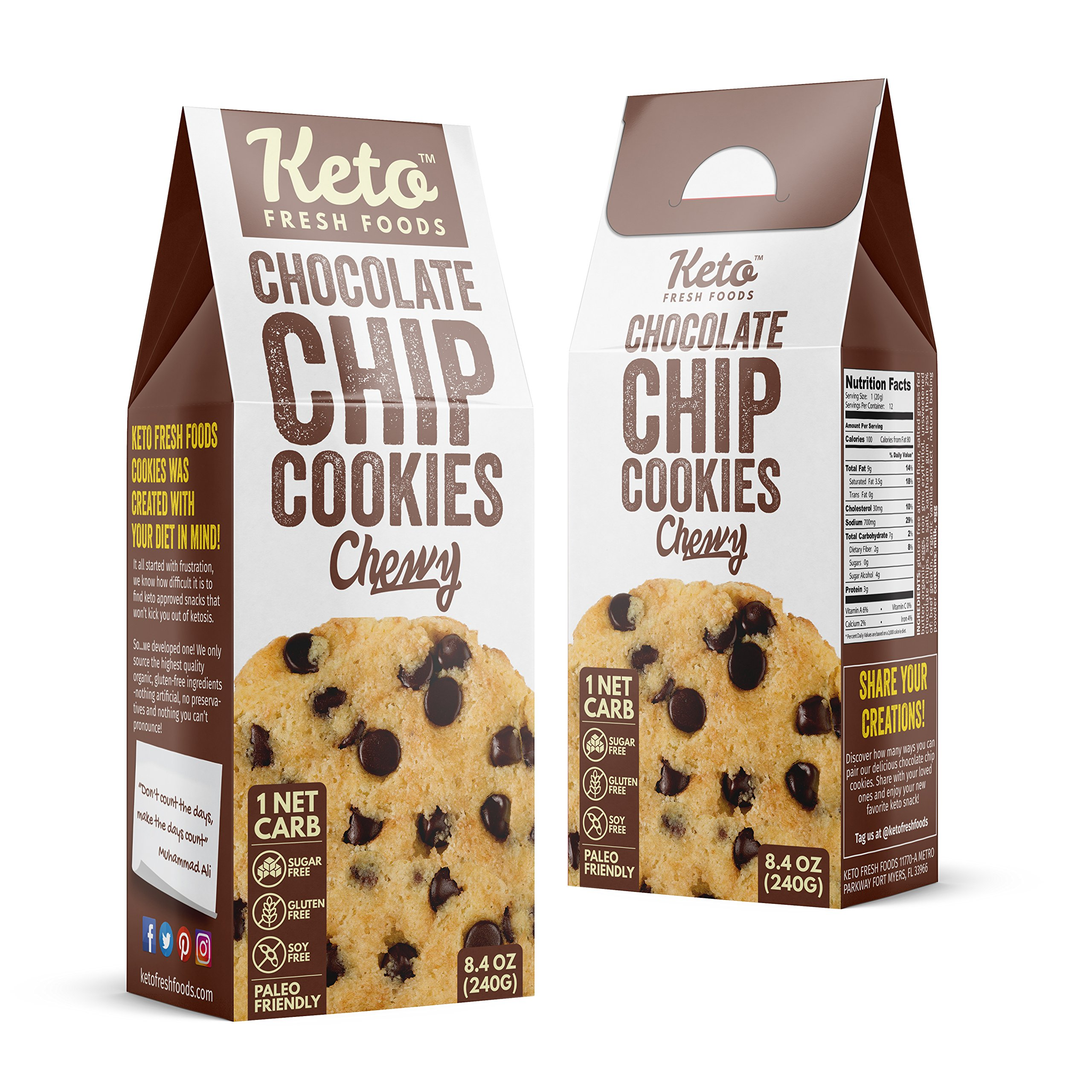 Keto Fresh Foods Chocolate Chip Cookies Features: 1 NET Carb | Sugar Free | Gluten Free | Made with Organic & Natural Ingredients | Paleo & Grandma Approved (12 Count) by Keto Fresh Foods