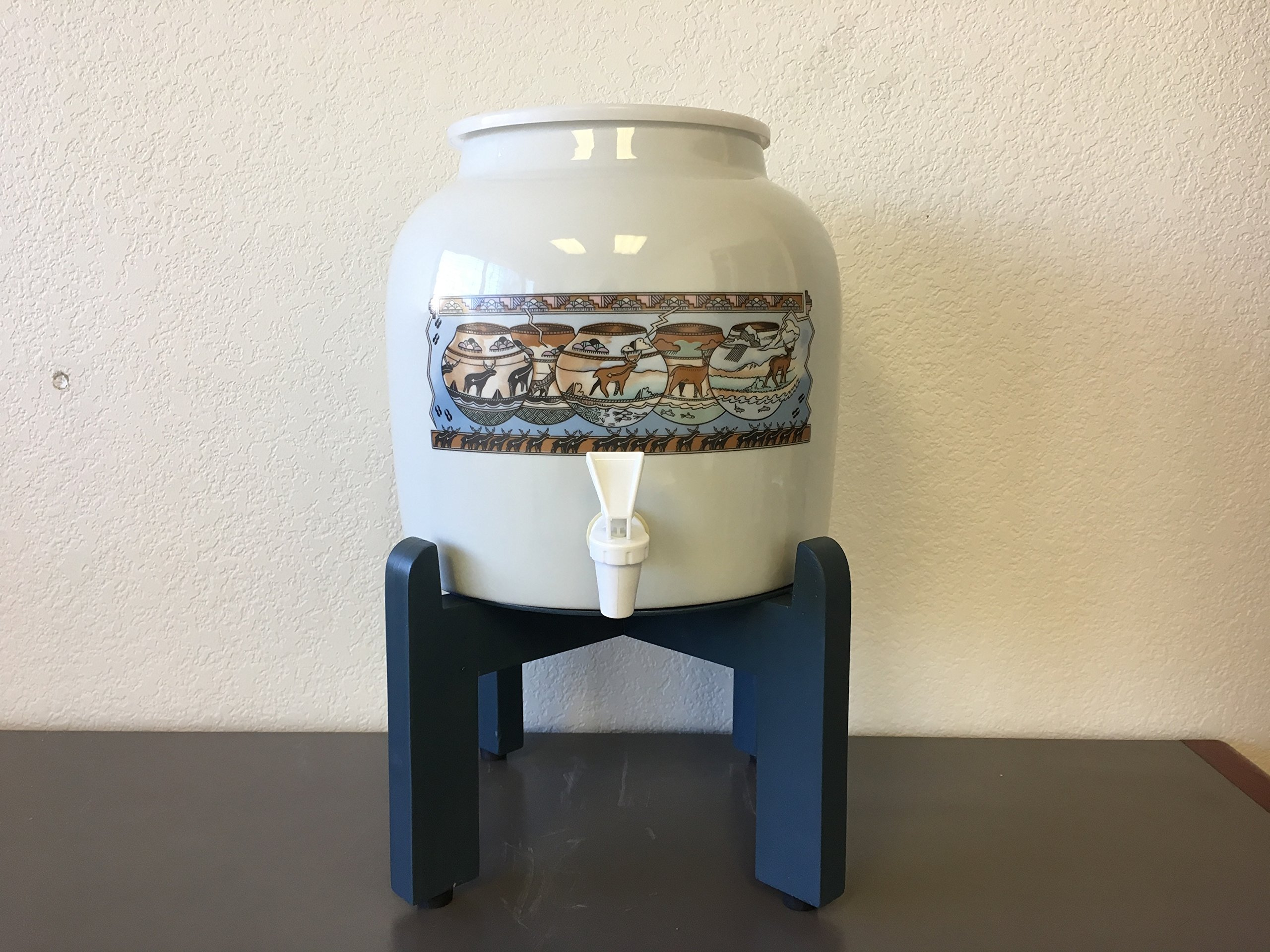 Bundle of Ceramic Water Dispenser Cave Drawings and Country Blue Wooden Counter Stand