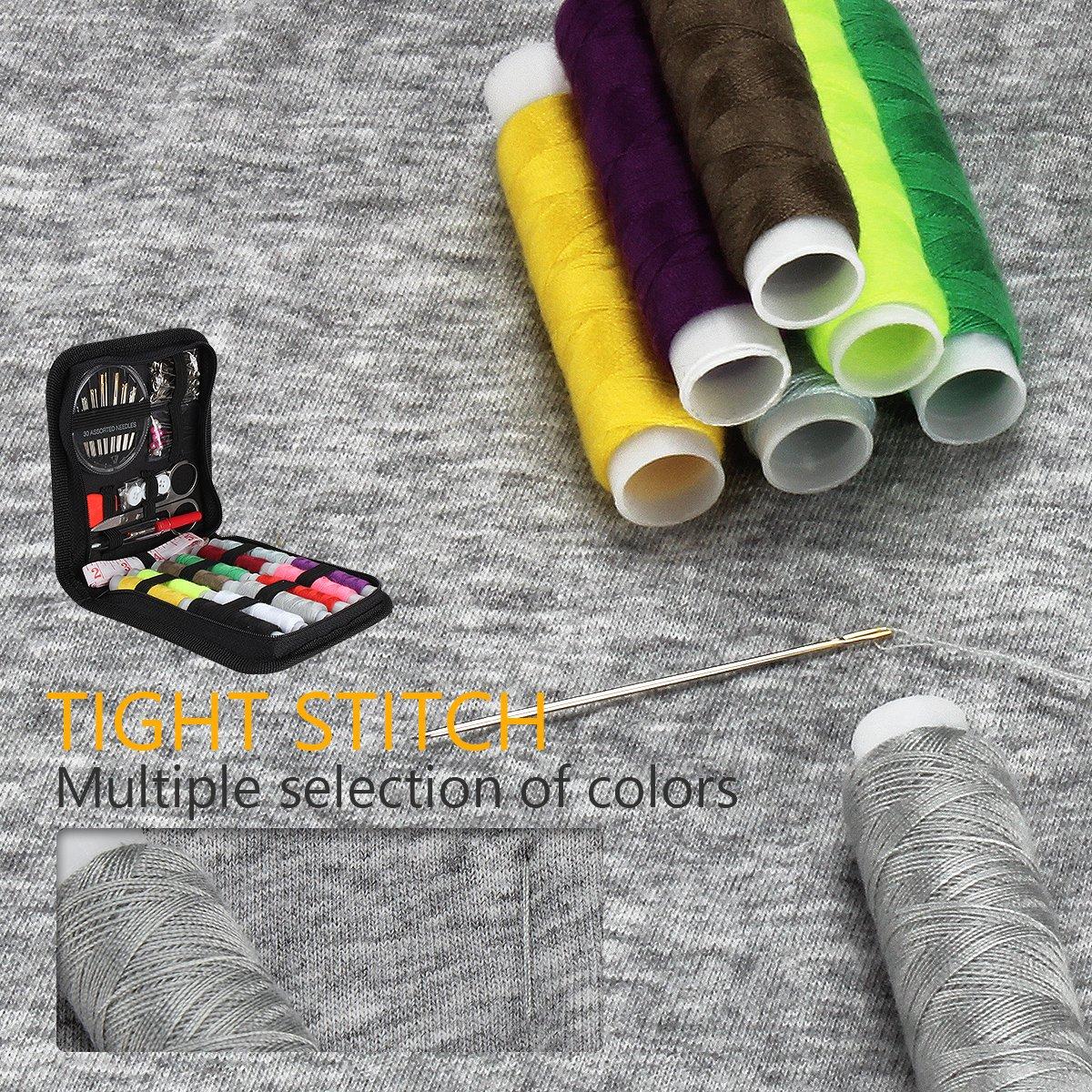 JUNING Kit de costura Accesorios de costura 73PCS, 12 carretes de hilo - Kit de costura premium de formato grande 50m con bolsa de transporte