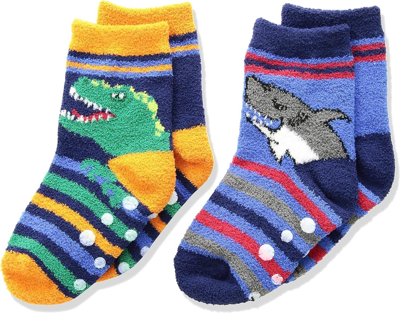 Jefferies Socks Boys' Little Dinosaur and Shark Fuzzy Non-Skid Slipper Socks 2 Pair Pack, Multi