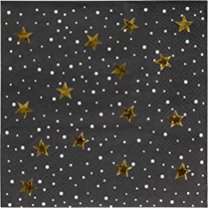 Gold Foil Starry Night Paper Napkins (5 x 5 Inches, 50 Pack)