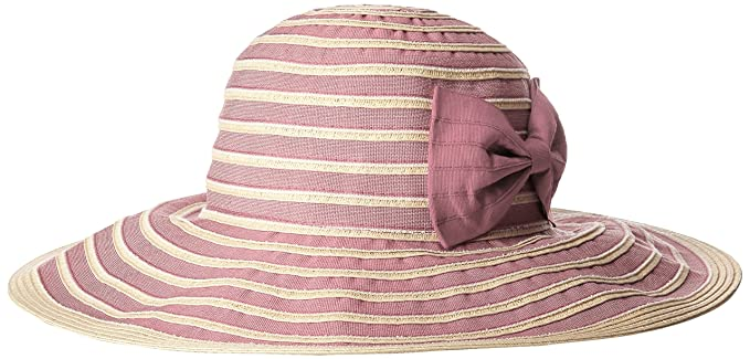 a7b23011b66a90 San Diego Hat Company Women's Washed Paper and Ribbom Sunbrim Packable Hat  with Bow, Blush