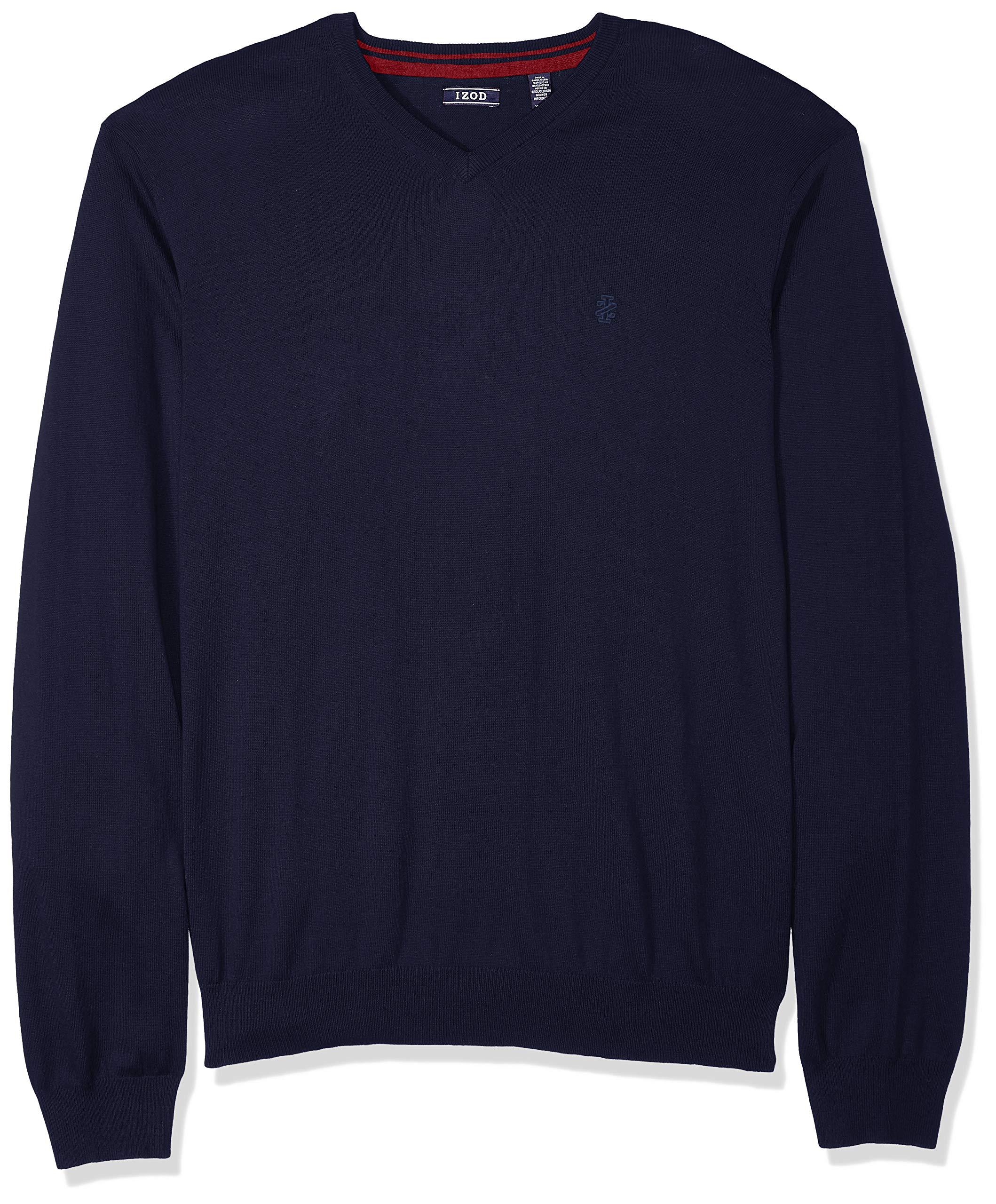 IZOD Men's Fine Gauge Solid V-Neck Sweater, New Peacoat, X-Large Slim