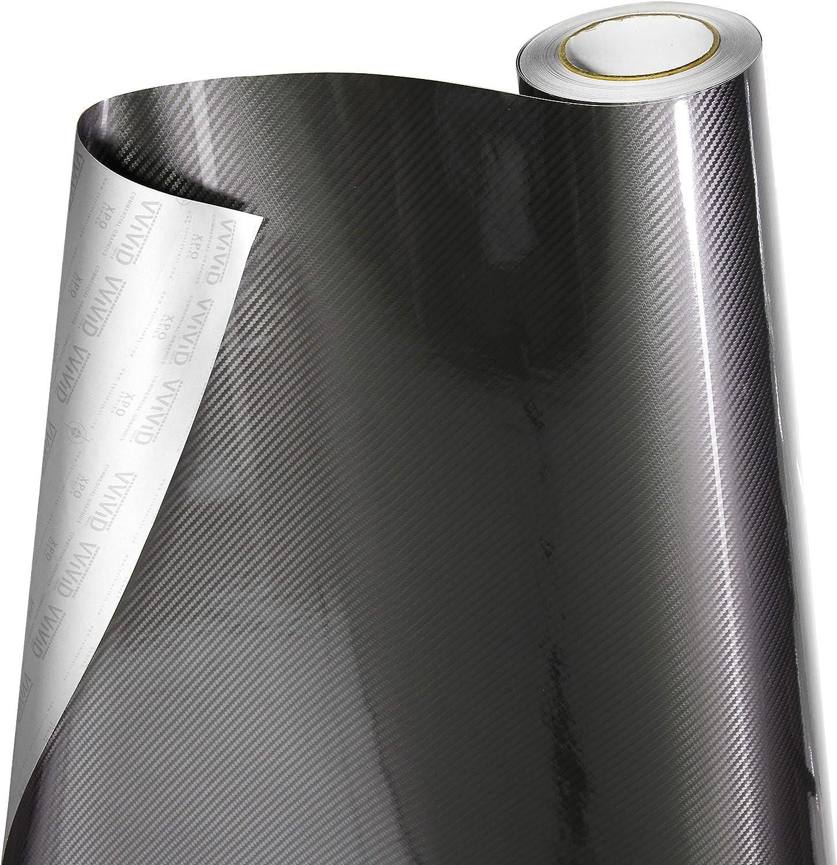1ft x 5ft VViViD 5D High Gloss Grey Epoxy Carbon Fiber Automotive Vinyl Wrap Film Roll