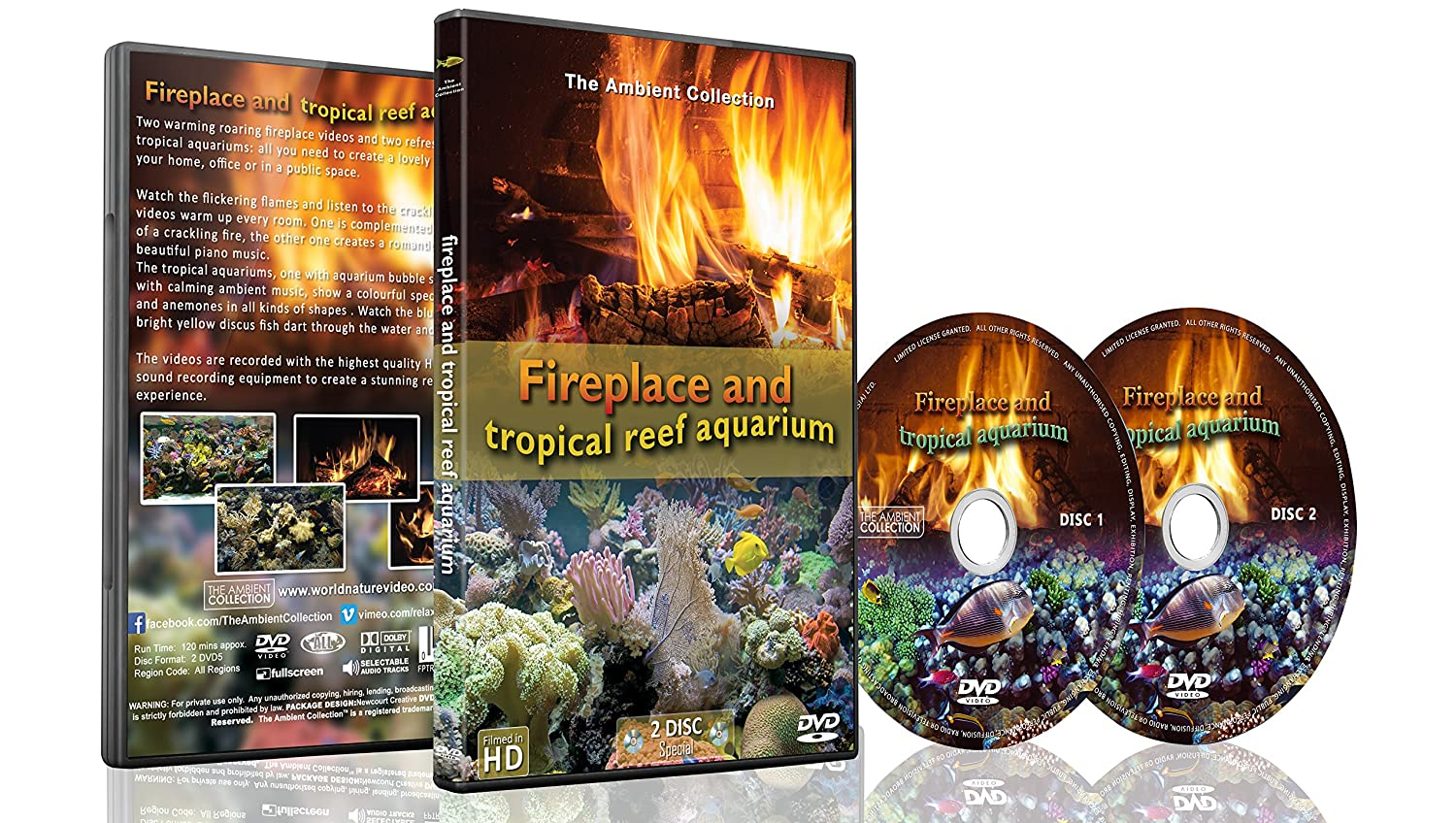 fire and fish 2 dvd set fireplace and tropical reef aquarium