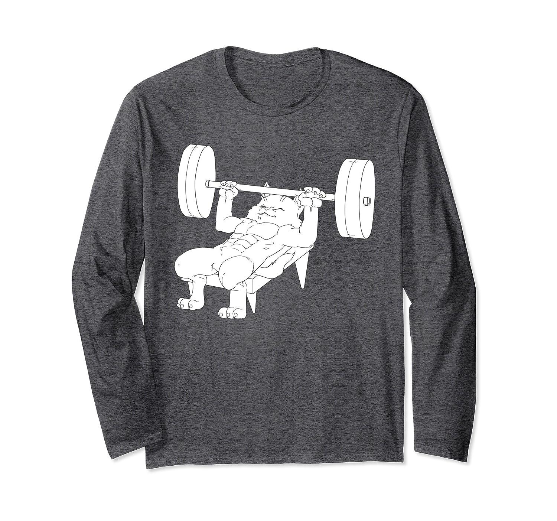 Cat Bench Press Powerlifting Long Sleeve T-Shirt-Awarplus