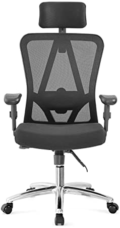 Ergonomic Office Chair, Ticova Breathable Mesh Chair – High Back Reclinable Desk Chair Computer Chair- Adujustable Headrest, Armrest and Lumbar Support – Thick Shaping Foam Seat Cushion Black