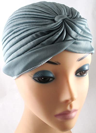 Gray Pleated Satin Turban Hat Head Cover Sun Cap