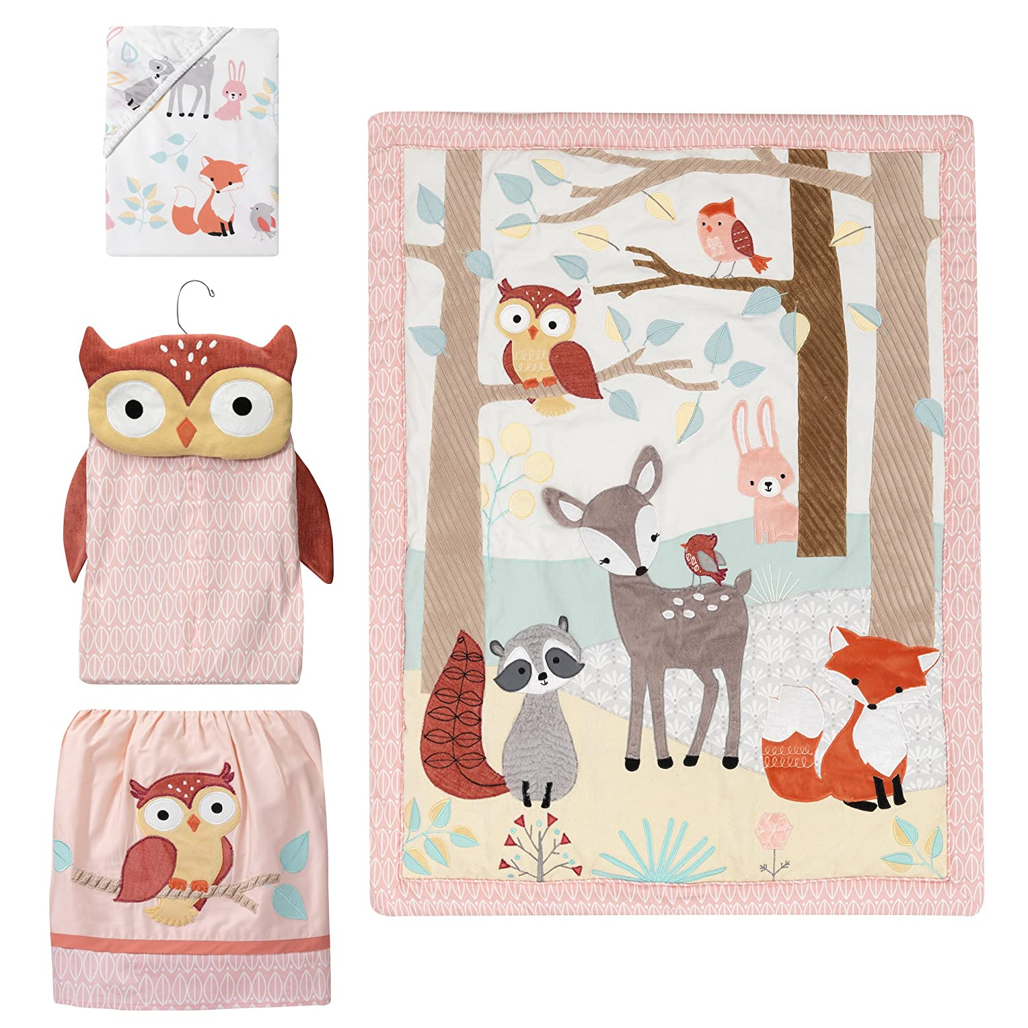 Lambs & Ivy Little Woodland Forest Animals 4 Piece Crib Bedding Set, Pink/White 698004V