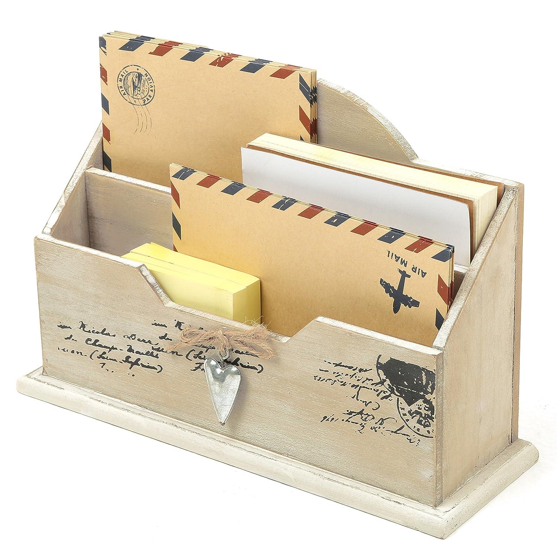 Amazon.com: MyGift Whitewashed Wood Mail Sorter, Rustic 2 ...