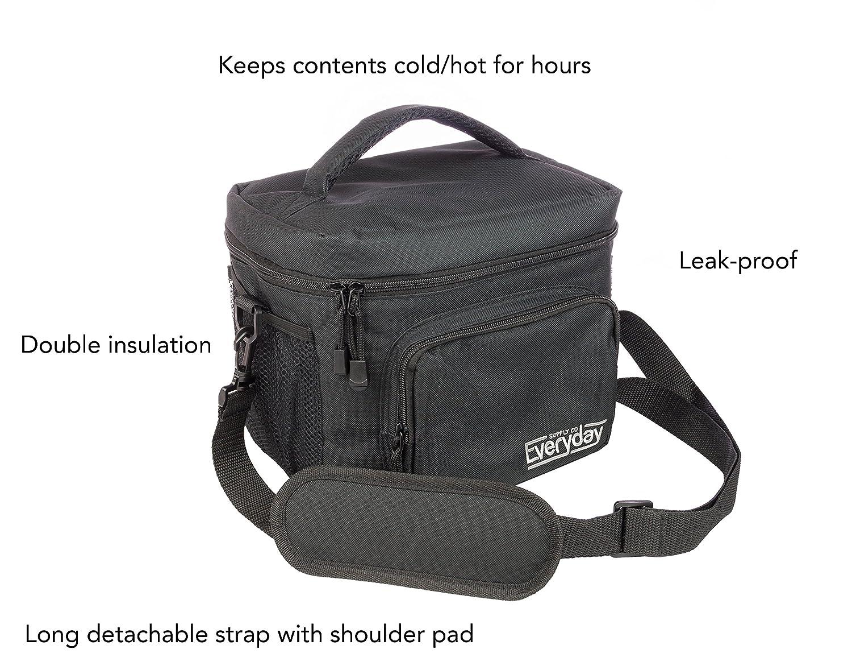Insulated Lunch Bag (Black) — Freezer Safe, Nylon Durability, Zip Closure