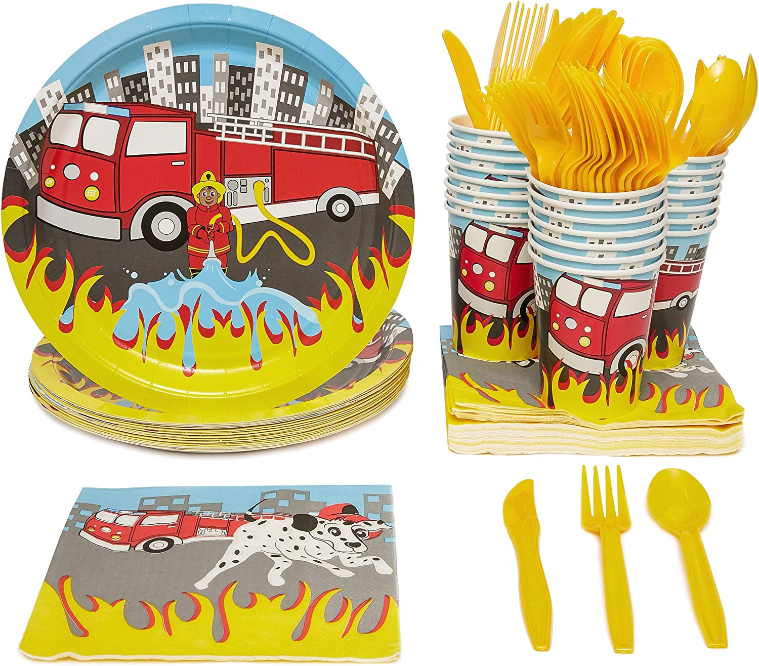 Firetruck Birthday Party Decorations, Paper Plates, Napkins, Cups and Plastic Cutlery (Serves 24, 144 Pieces)