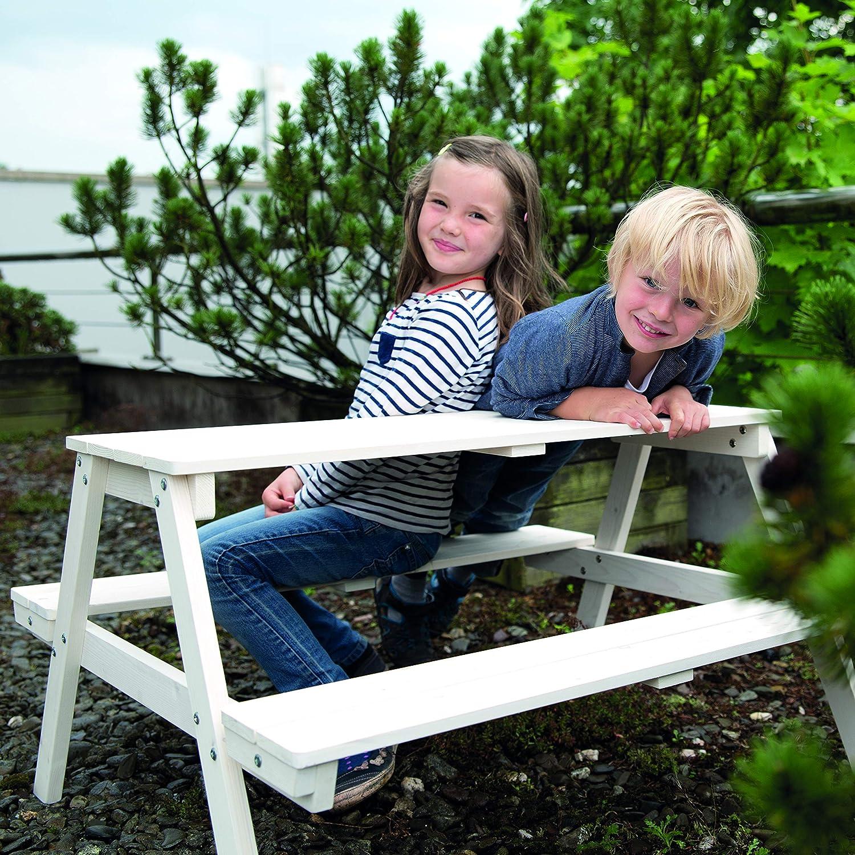 wetterfeste Sitzgarnitur f/ür drinnen und drau/ßen aus Massivholz in Teakholz-Optik besonders stabil und langlebig roba Kinder Outdoor Sitzgruppe Picknick for 4