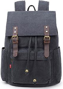 La Packmore Canvas Backpack Vintage Rucksack Daypack Bookbag Drawstring Bag Knapsack for School College Fits Up To 17 Inch Laptop (Black)