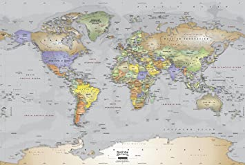 Academia maps world map wall mural gray ocean political map academia maps world map wall mural gray ocean political map premium self gumiabroncs Image collections