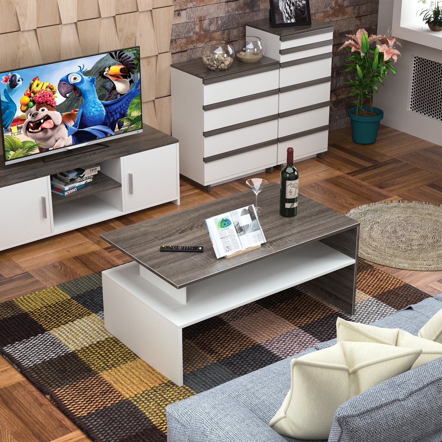 HOMFA Modern Console Table Coffee Table 2-Tier Rectangular Storage Open Shelf Table for Living Room Sitting Room Home Furniture