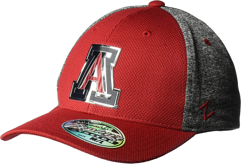 NCAA Zephyr Arizona Wildcats Mens Insignia Platinum Logo Snapback Hat Medium//Large Team Color//Heather Gray