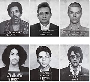 Musicians Famous Mugshots Poster Set - 6 Pack 8x10 UNFRAMED - Hendrix - Johnny Cash - David Bowie - Prince - Elvis Presley - Frank Sinatra - Music Posters for Room Aesthetic 90s - Retro Music Decor Wall Art - Vintage Rock Band Posters for Walls