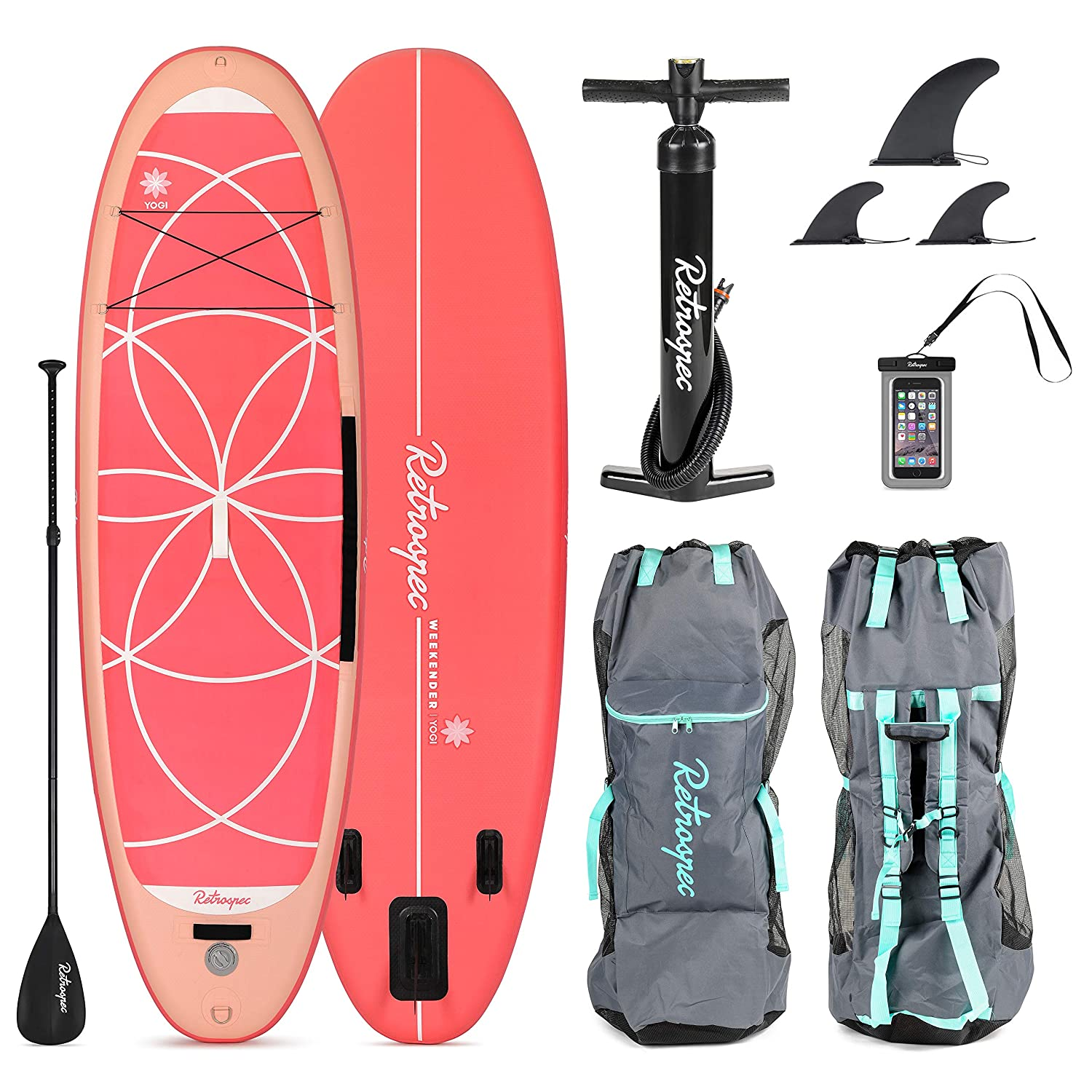 Retrospec Weekender-Yogi 10 Extra Wide Inflatable Stand Up Paddleboard Triple Layer Military Grade PVC iSUP Bundle w/ paddle board carrying case, ...