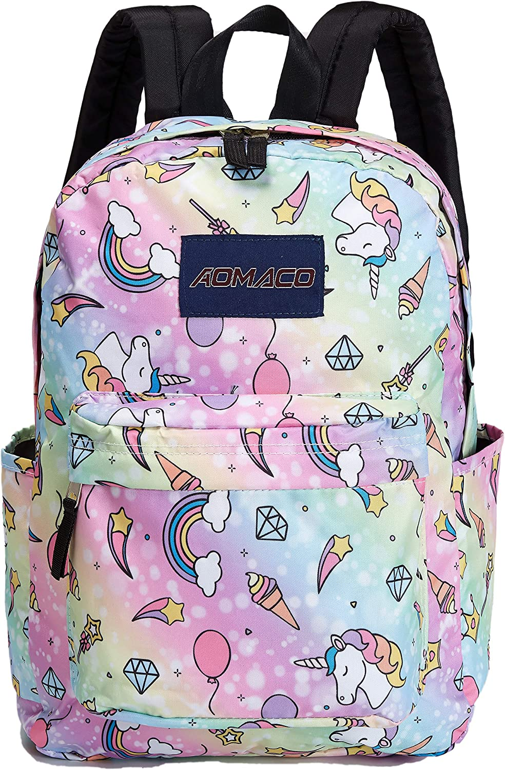 AOMACO School Backpack Kids Unicorn Rainbow Patterned Cute Pupil School Bag for Girls and Boys