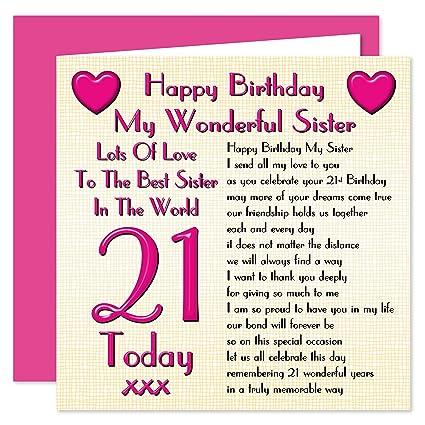 Tarjeta del feliz cumpleaños n.°21 para hermana: Lots Of ...