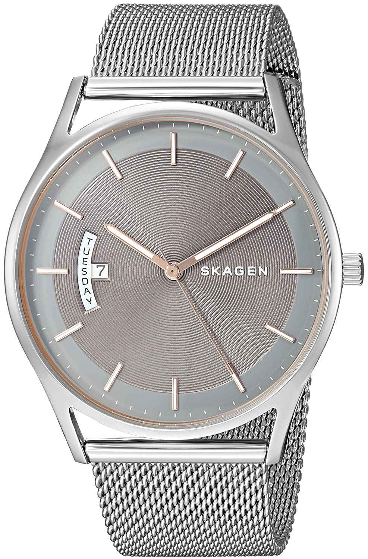 61dd982d4ea Amazon.com  Skagen Men s Holst Quartz Stainless Steel Mesh Casual Watch