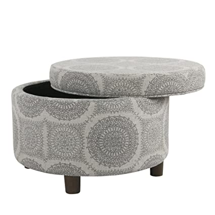 Outstanding Homepop Round Storage Ottoman Gray Medallion Squirreltailoven Fun Painted Chair Ideas Images Squirreltailovenorg