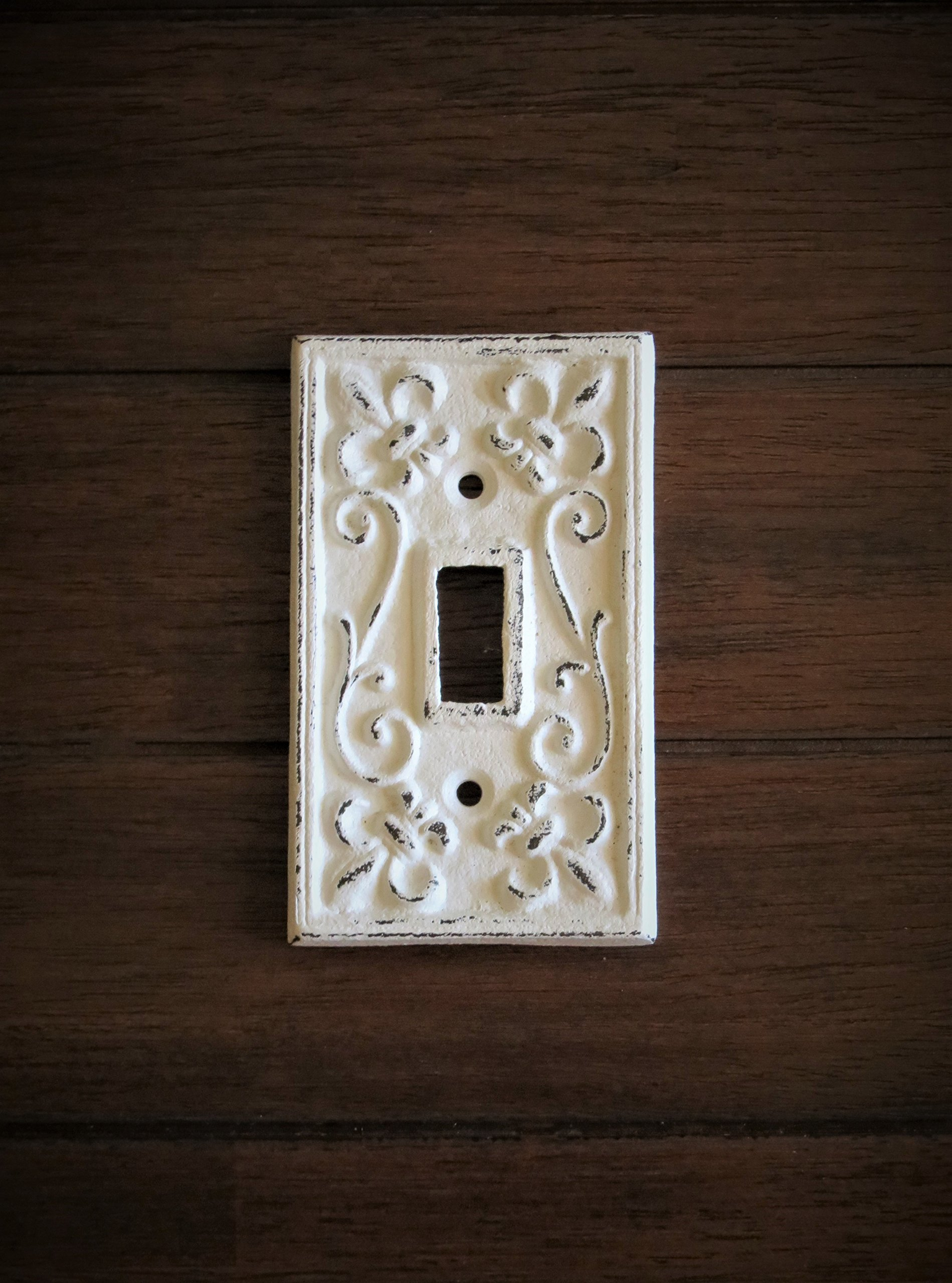 Single Light Switch Cover/ Light Plate Cover / Cast Iron Plate/ Fleur de Lis Design/ Antique White or Pick Your Color