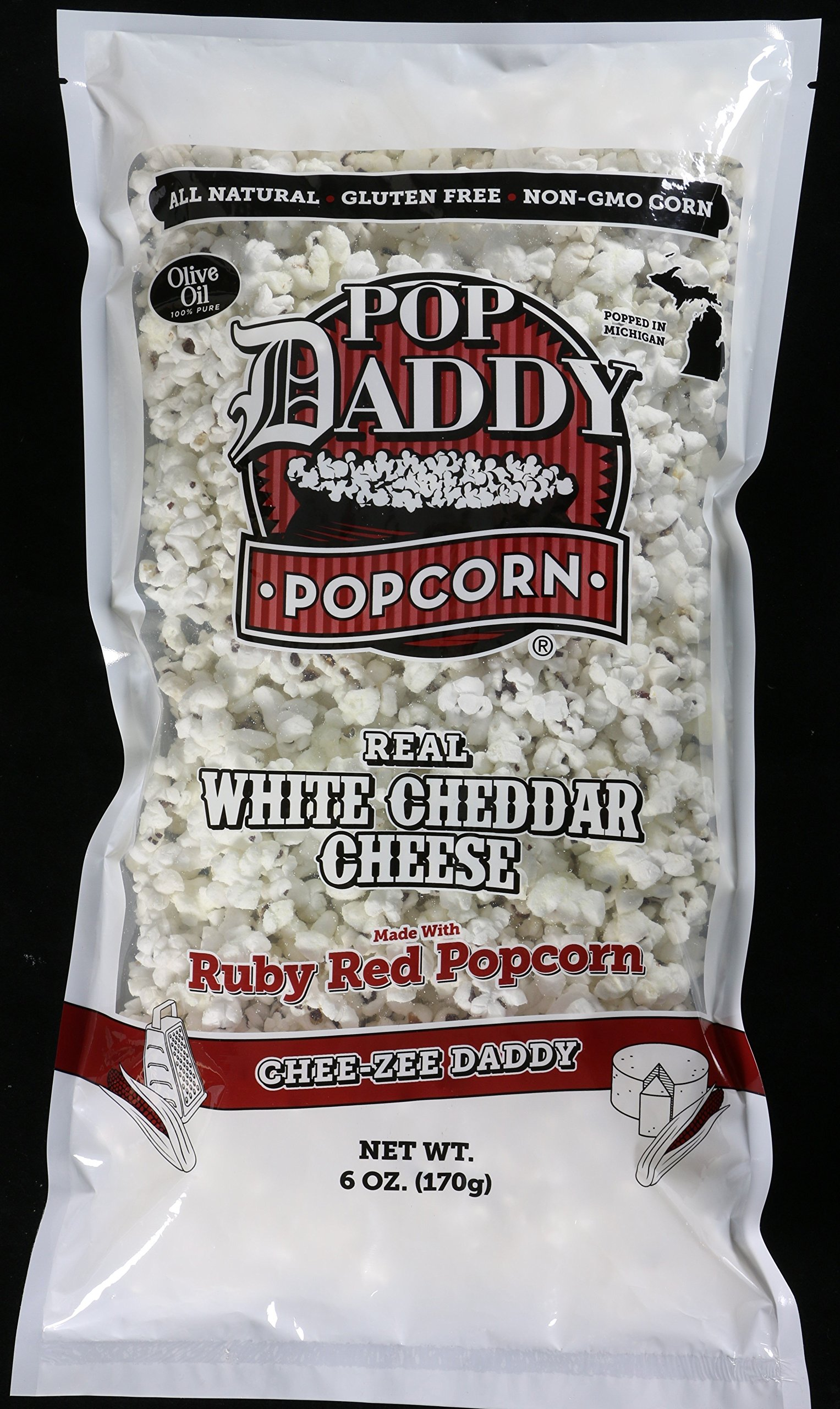 Pop Daddy Popcorn - Real White Cheddar Cheese - 3 Pack - Made with Ruby Red Popcorn