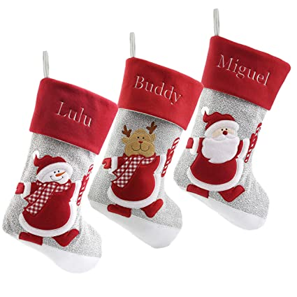 wewill personalized christmas stockings home decorations gifts for family set of 3pcs - Amazon Christmas Stockings