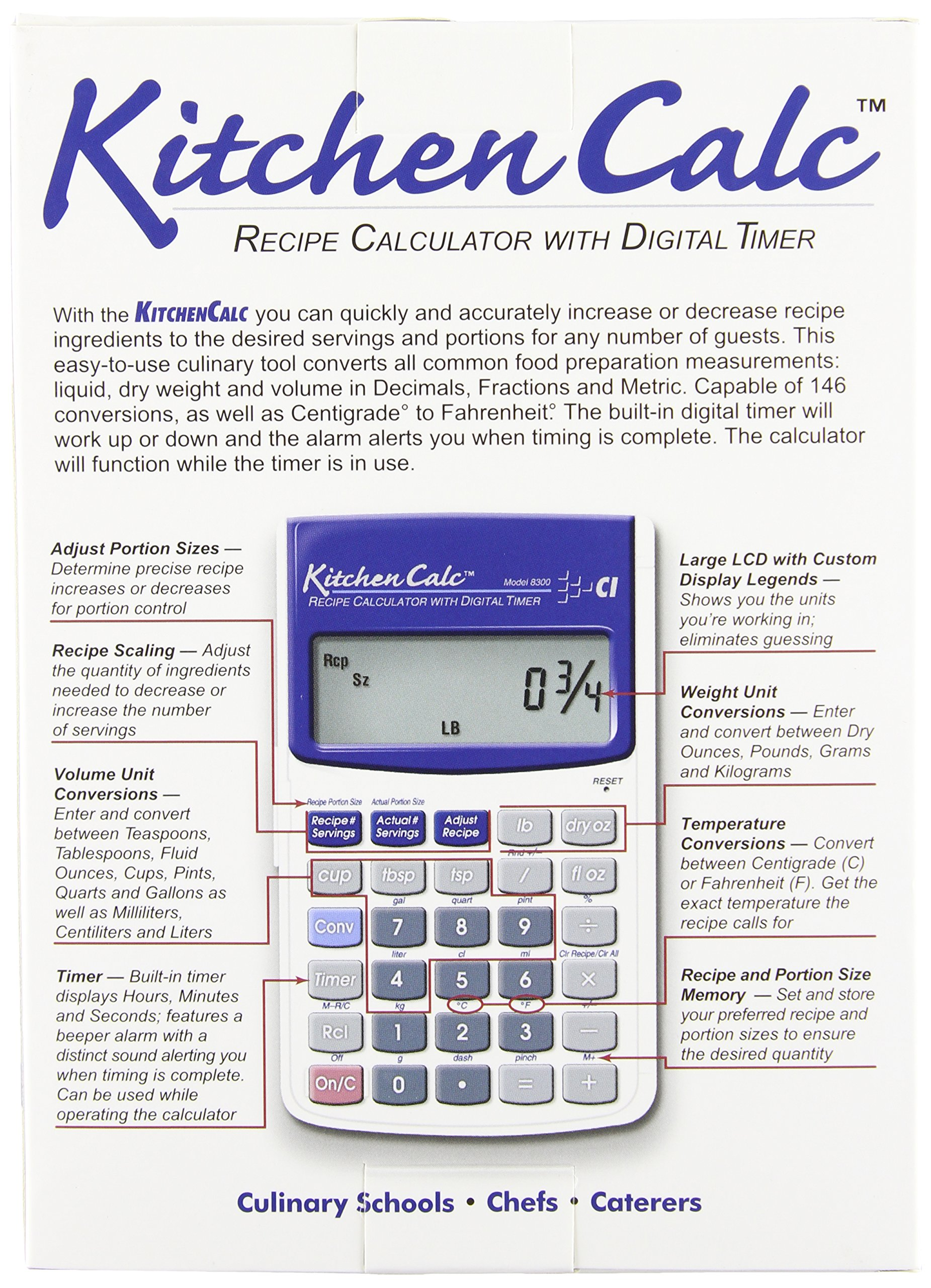 Calculated industries kitchencalc 8300 recipe calculator with.
