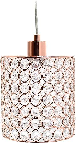 Elegant Designs PT1001-RGD 1 Light Elipse Crystal Cylinder Pendant, Rose Gold