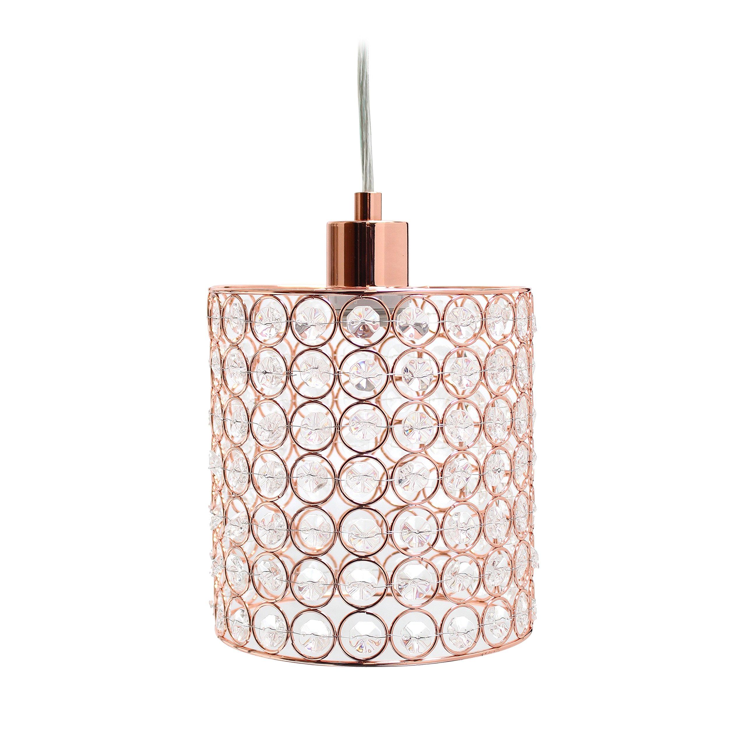 Elegant Designs PT1001-RGD 1 Light Elipse Crystal Cylinder Pendant 1 Lt, Rose Gold