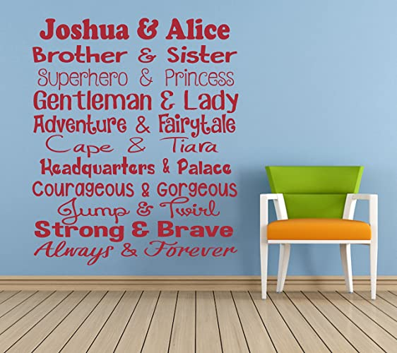 personalised brother sister quote vinyl wall art sticker mural