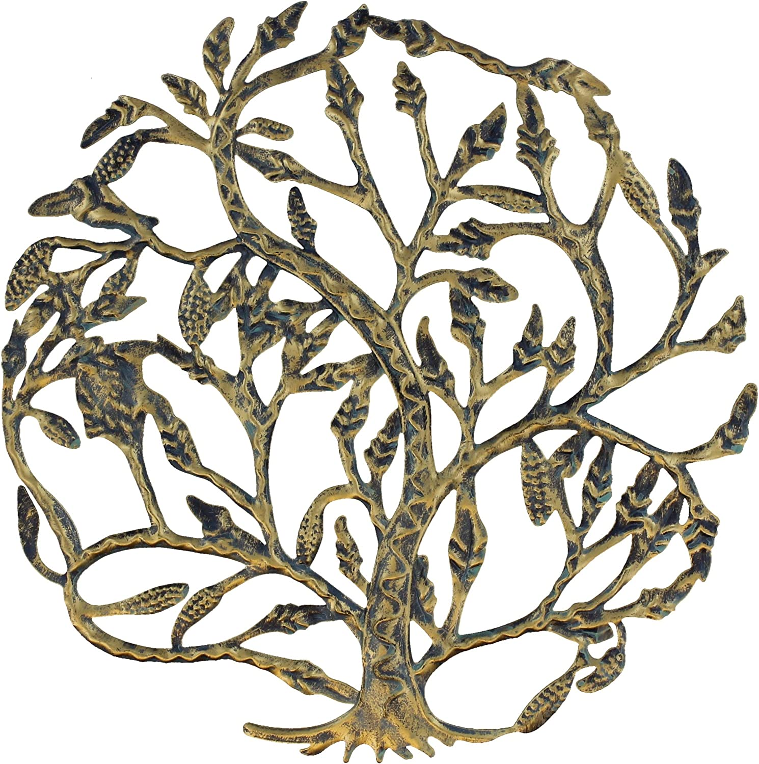 Metal Tree of Life Wall Plaque 14 Inches Decorative Spiritual Celtic Garden Art Sculpture